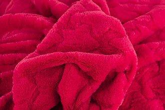 Textil - Flís s hviezdami červený - 7589791_