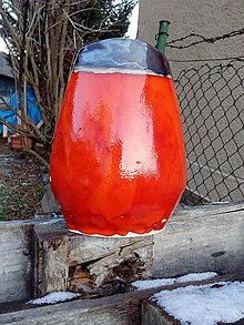 Dekorácie - váza oranžová zlatá - 7590429_