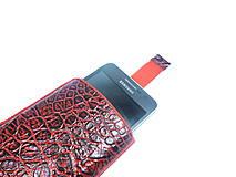 Na mobil - Kožené púzdro na mobil - červené - 7589366_