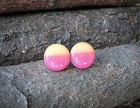 Náušnice - Krúžky 12 mm dúhové (ružovo-žlté) - 7589612_