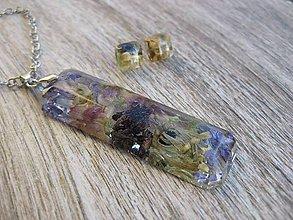 Sady šperkov - Drahokam živicový s kvietkami - sada 2. č.642 - 7590269_