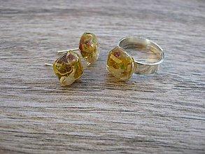 Sady šperkov - Živicové štvorčeky s kvietkami - sada č.644 - 7590323_