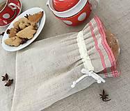 Úžitkový textil - Vrecúško z ručne tkaného ľanu s červeným lemom 24,5x18,5cm - 7589862_