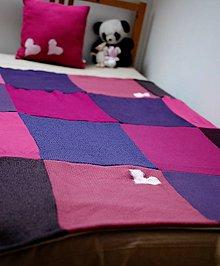 Textil - Fialová deka s vankúšom pre malú slečnu - 7591420_