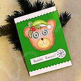 Papiernictvo - Vianočná pohľadnica macko (s imelom) - 7590466_