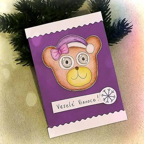 Vianočná pohľadnica macko - s mašličkou