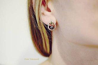 Náušnice - Čierna perla - 7594053_
