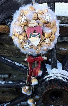 Dekorácie - vianočný veniec so snehuliakom - 7592018_