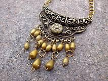 Náhrdelníky - zlato-mosadzný náhrdelník - filigránový + polymér - 7592550_