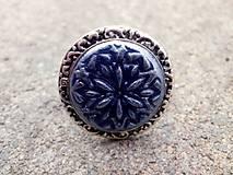 Prstene - filigránový prsteň z polyméru - modrý - 7592607_