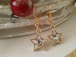 Náušnice - Vianočná hviezda v pozlátených háčikoch - 7593172_