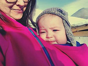 Tehotenské oblečenie - Fleecová mikina na nosenie deti - 7593027_