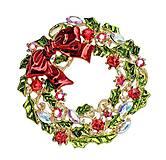 - Štrasová brošnička vianočný veniec - 7593873_