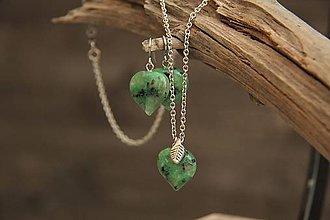 Sady šperkov - Súprava náušnice a retiazka jaspis srdce - 7592222_