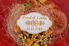 Darčeky pre svadobčanov - Drevená svadobná magnetka ako vyslužka hosťom  79 - 7593083_
