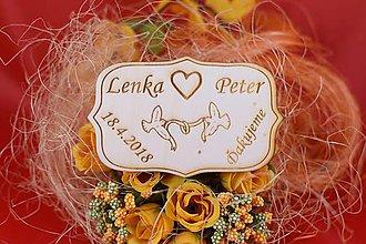 Darčeky pre svadobčanov - Drevená svadobná magnetka ako vyslužka hosťom  80 - 7593089_