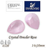 Korálky - SWAROVSKI® ELEMENTS 4320 Pear Rhinestone - Crystal Powder Rose, 14x10, bal.1ks - 7593311_