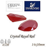 Korálky - SWAROVSKI® ELEMENTS 4320 Pear Rhinestone - Crystal Royal Red, 14x10, bal.1ks - 7593493_