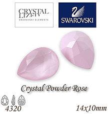 Korálky - SWAROVSKI® ELEMENTS 4320 Pear Rhinestone - Crystal Powder Rose, 14x10, bal.1ks - 7593311_