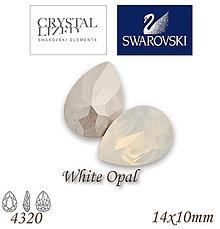 Korálky - SWAROVSKI® ELEMENTS 4320 Pear Rhinestone - White Opal, 14x10, bal.1ks - 7593755_