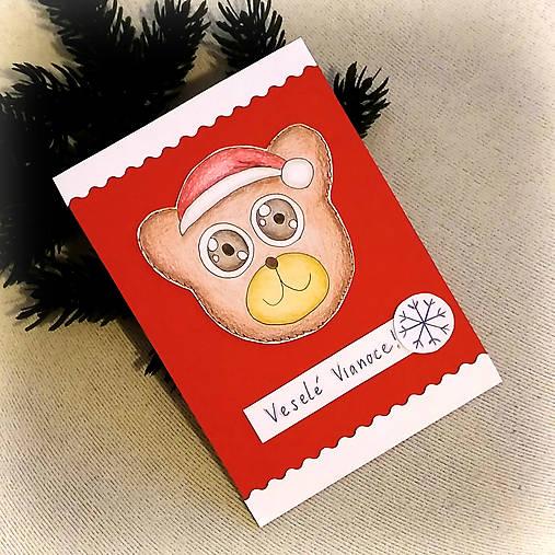 Vianočná pohľadnica macko (v čiapke)