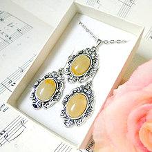 Sady šperkov - Vintage Classic Silver Yellow Aventurine Set / Set šperkov so žltým aventurínom - 7595312_