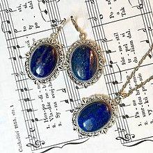 Sady šperkov - Lapis Lazuli Antique Silver Set / Sada náhrdelníka a náušníc s lazuritom - 7595483_