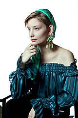 Náušnice - Hippie collection - green tassels 2...soutache - 7596085_