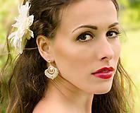 Náušnice - svadobné náušnice NEVESTA (Cream - Ag 925) - 7595265_