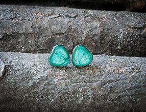 Náušnice - Srdiečka kovové 8 mm (zelené) - 7595428_