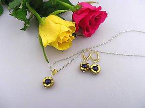Sady šperkov - lapis a zlatý hematit náušnice prívesok - striebro pozlátené - 7594965_
