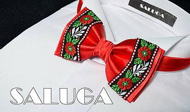 Doplnky - Folklórny červený pánsky motýlik - folkový - 7595628_