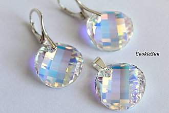 Sady šperkov - Set Swarovski Heart Twist Crystal AB - 7595945_