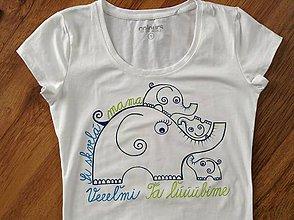 Tričká - Originálne maľované tričko pre skvelú mamku (Modrozelené) - 7594720_