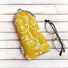 Taštičky - Púzdro na okuliare Žltožlté kvetované - 7594288_