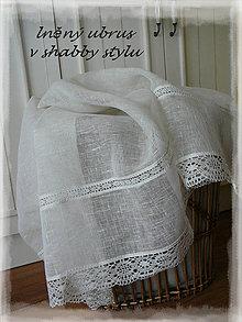 """Úžitkový textil - Lněný ubrus v shabby vel.na přání """"záclonkový"""" - 7597911_"""