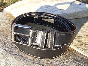 Opasky - Čierny kožený opasok - prešívaný - 7597960_