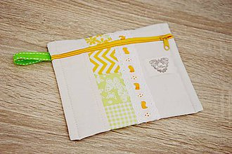 Taštičky - Zeleno-oranžová taštička s čipkou - 7599512_