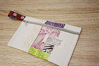 Taštičky - Taštička zeleno-ružová s čipkou - 7599516_
