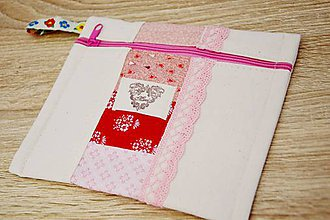 Taštičky - Ružová taštička s čipkou - 7599522_