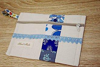 Taštičky - Modrá taštička s čipkou - 7599523_