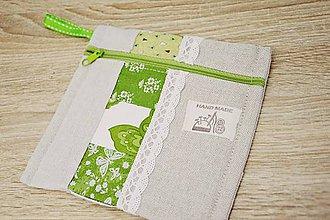 Taštičky - Zelená taštička s čipkou II. - 7599524_