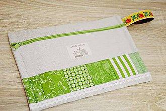 Taštičky - Zelená taštička s čipkou III. - 7599526_