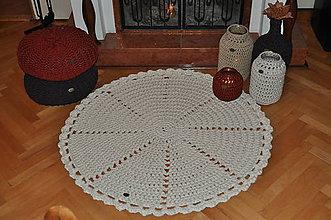 Úžitkový textil - Krémový háčkovaný koberec - 7600132_