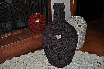 Dekorácie - Tmavohnedý svietnik - váza - demižón - 7600425_