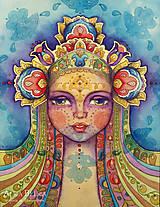 Obrazy - NA OBJEDNÁVKU Kvetom maľovaná, visionary folk art (akvarelový portrét, obraz, maľba, kvety, ľudový) - 7599750_