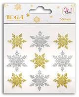 - STO130 Glitrové plné zlato-strieborných samolepiek – HVIEZDY - 7599929_