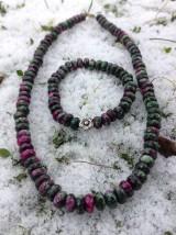 Sady šperkov - Rubín v zoisite sada - náhrdelník a náramok - 7599369_
