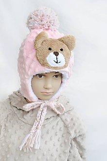 Detské čiapky - Zimná čiapka minky Teddy Πnk - 7600255_
