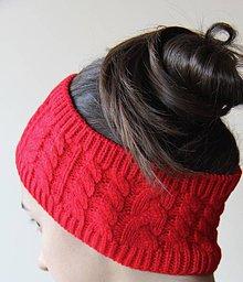 Ozdoby do vlasov - Zimná čelenka červená - 7599949_